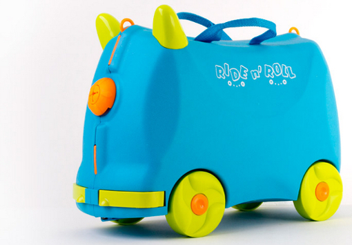 Online Shopping Ride n' Roll Suitcase Blue Toy for Kids